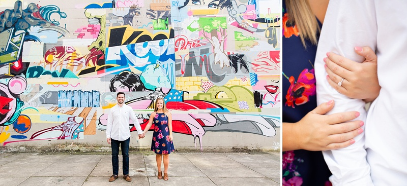 Fun colorful urban murals for unique engagement photos