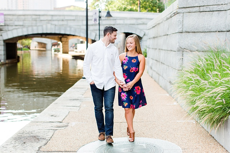 Riverfront Canal Walk in Richmond Virginia for engaged couples