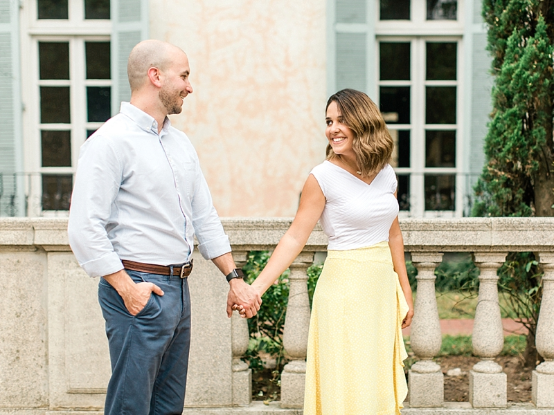 Yellow skirt and white top for springtime engagement pictures at Libby Hill Park in Richmond Virginia