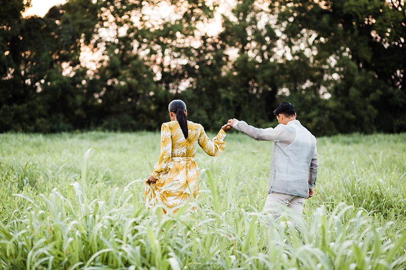 Mustard yellow maxi dress for romantic engagement photos