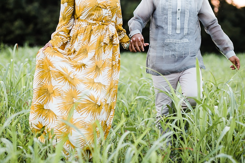 Mustard yellow maxi dress and gray barong tagalog for beautiful romantic engagement photos