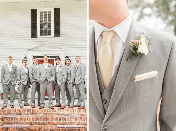 Groomsmen in gray suits for country chic Virginia wedding