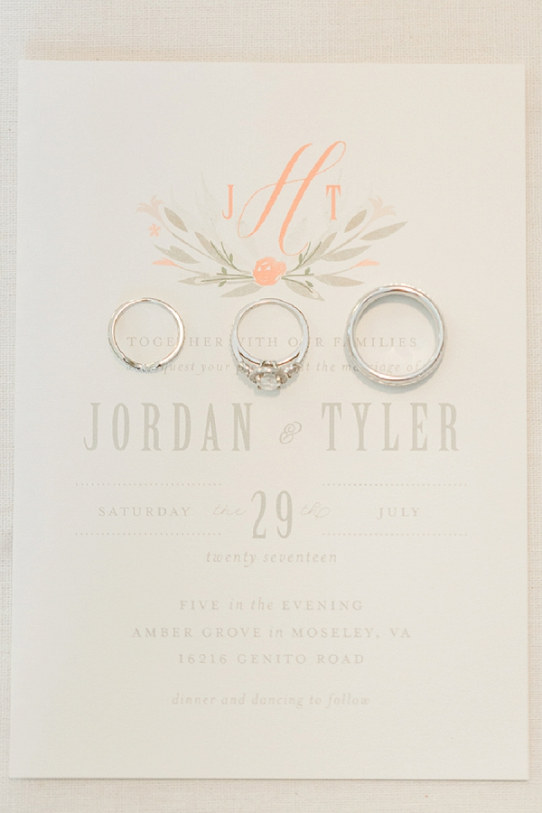 Peach and gray wedding invitation