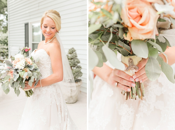 Heirloom brooch for bridal bouquet for a rustic barn wedding