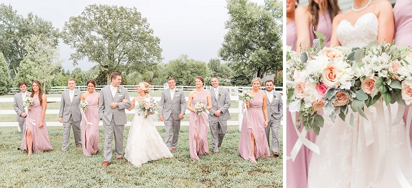 Gray and pink wedding attire for Virginia barn wedding