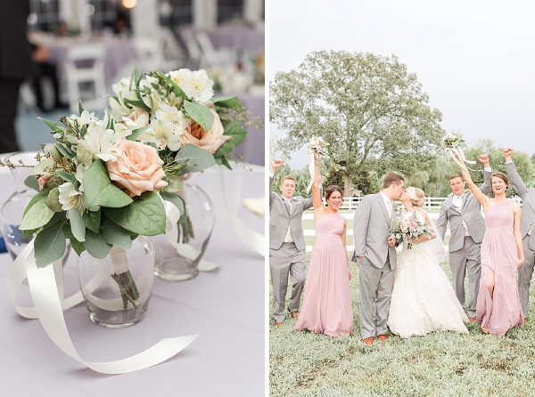 Blush pink and gray wedding colors for a rustic barn wedding