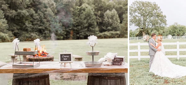 Rustic outdoor smores bar for barn wedding in Virginia