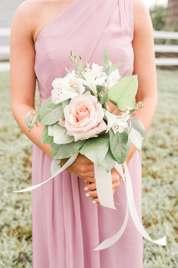 Pink and white bridesmaid bouquet for a romantic barn wedding