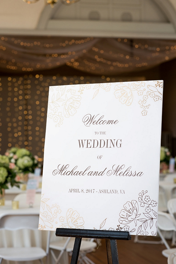 Gold foil wedding welcome sign