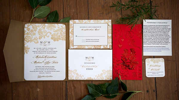 Classic gold wedding invitation suite with red Chinese good luck money envelope
