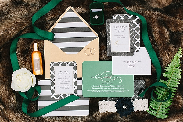 Black and white striped modern wedding invitations with gold and green