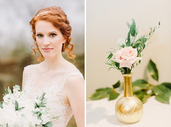 Classic winter redhead bride with updo