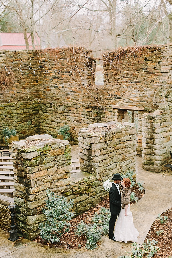 Winter bride and groom at Mill at Fine Creek in Powhatan Virginia