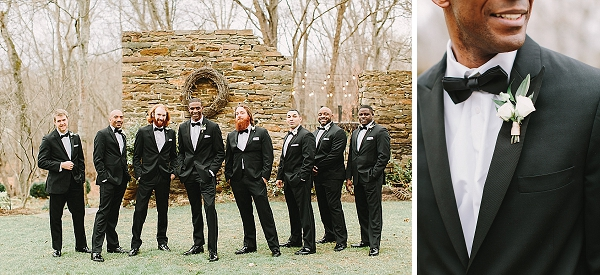 Classic groomsmen black tuxedos with bow ties