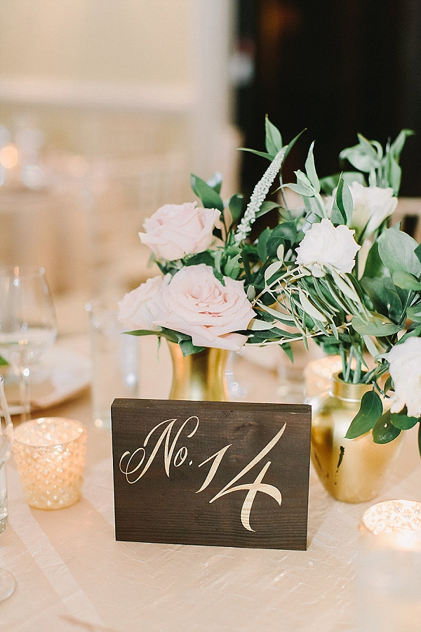 Wooden wedding table numbers with gold calligraphy