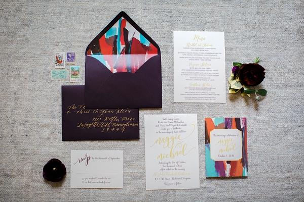 Modern colorful painted wedding invitations