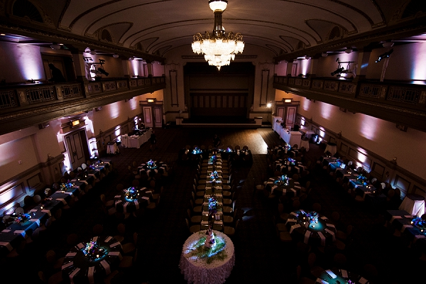 Moody wedding reception with low lighting