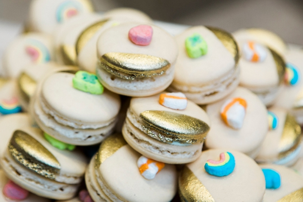 Lucky Charms macarons for wedding dessert