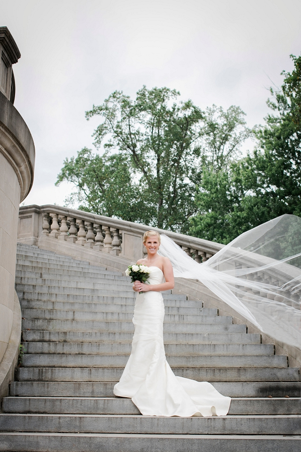 Bride on urban staircase in Richmond Virginia