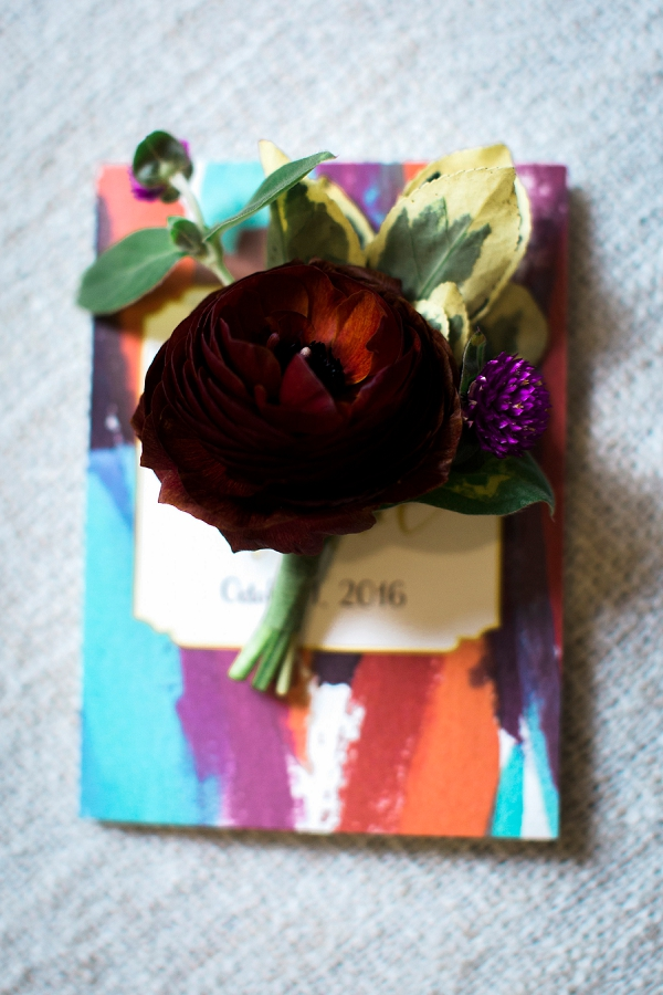 Dark burgundy red wedding boutonniere