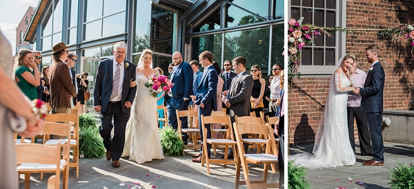 Beautiful outdoor wedding ceremony at Tredegar Iron Works in Richmond Virginia