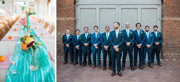 Groomsmen in turquoise neckties