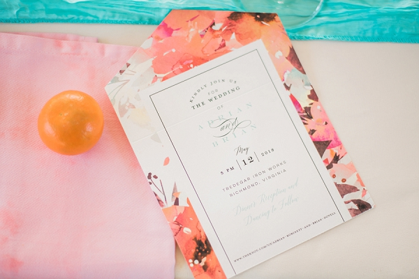 Watercolor floral wedding all in one invitations from Minted