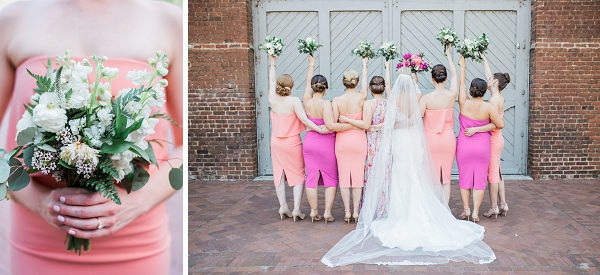 Fun bridesmaid photo idea with bouquets in the air