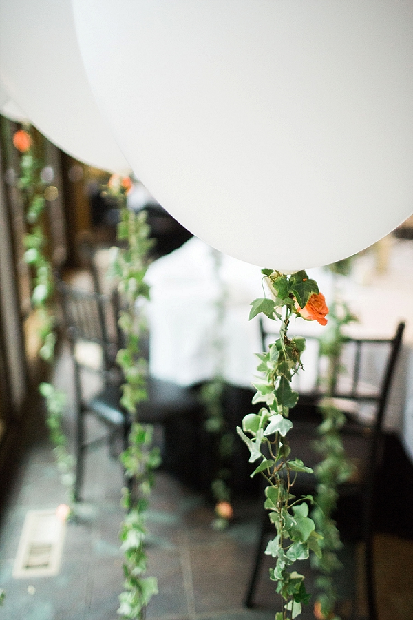 Wedding balloon strings made from ivy