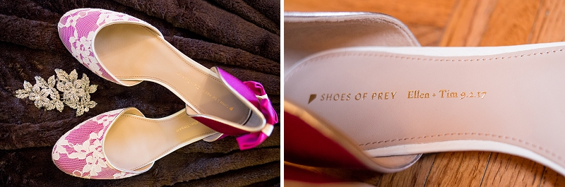 Custom made pink lace wedding shoes by Shoes of Prey