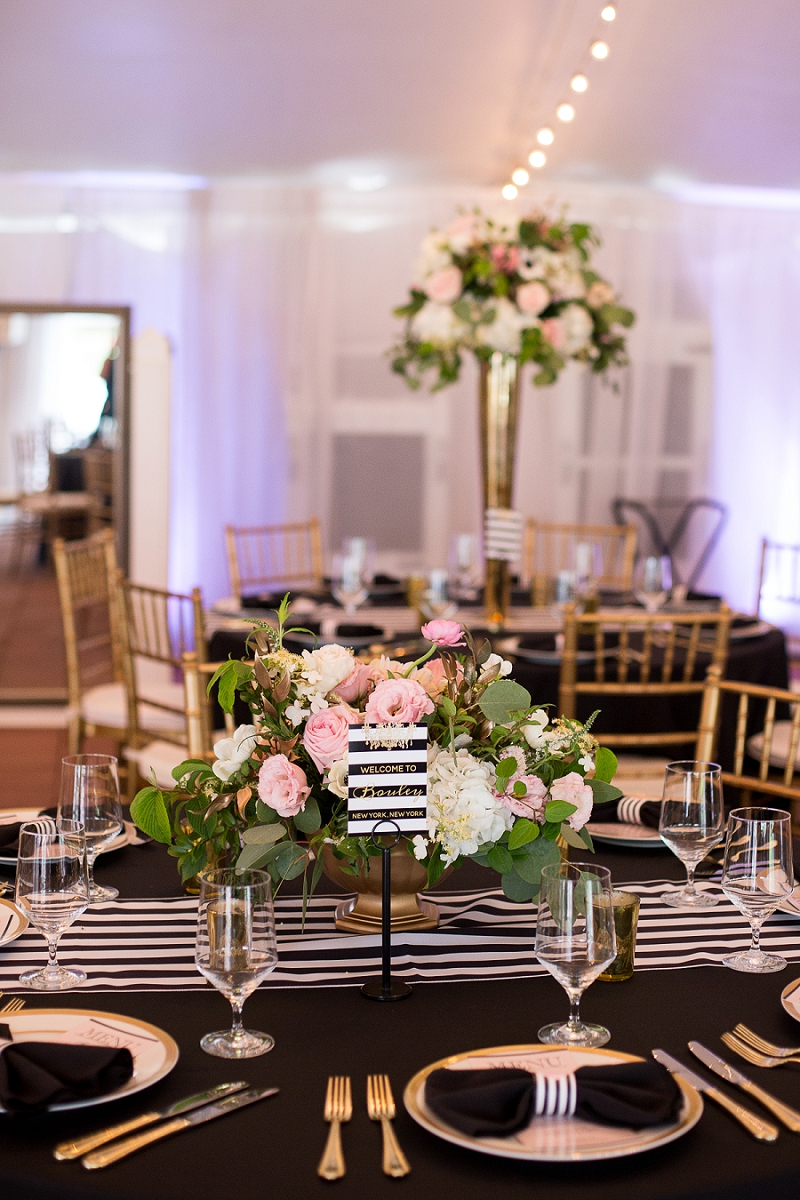 Kate Spade inspired wedding details with black and white stripes and gold accents