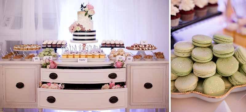 Yummy wedding dessert bar with macarons and cannolis