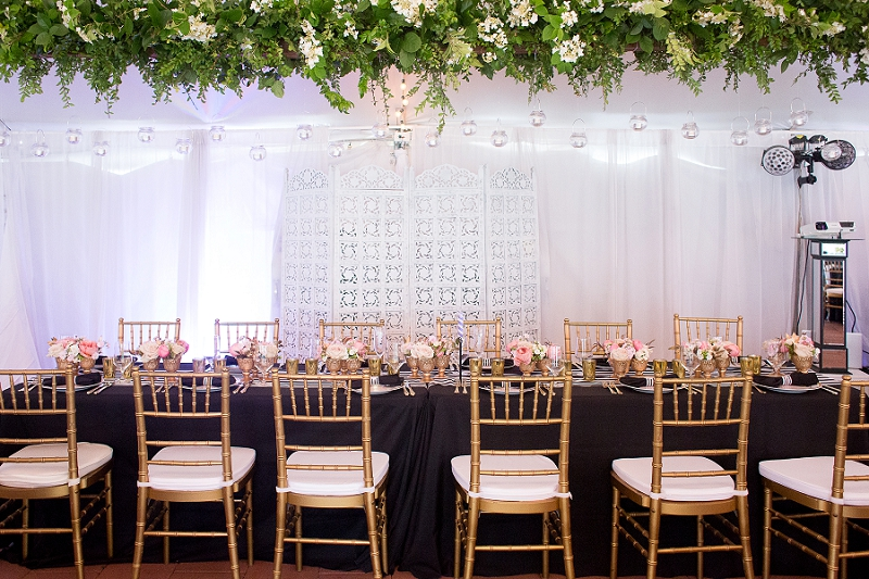 Gold chairs for classic wedding reception in Richmond Virginia