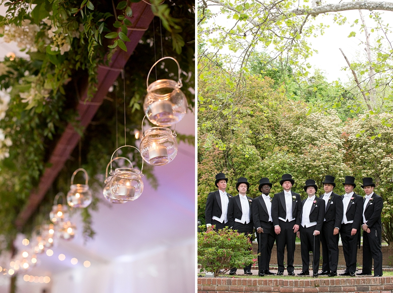 Groomsmen in traditional classic black top hats and formal tuxedos