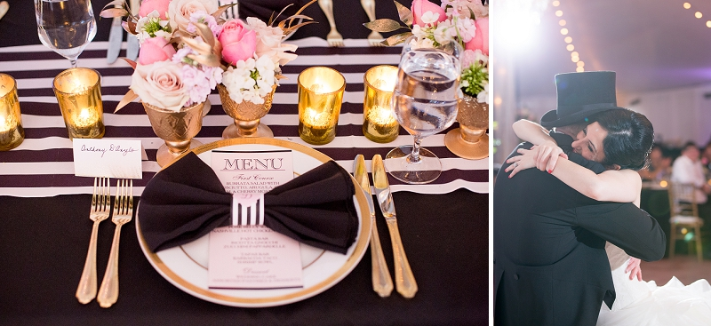 Black and white striped wedding menu at Historic Mankin Mansion