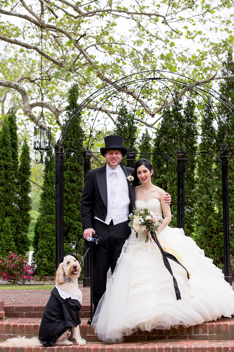 Classic formal Richmond Virginia wedding with a dog in a top hat