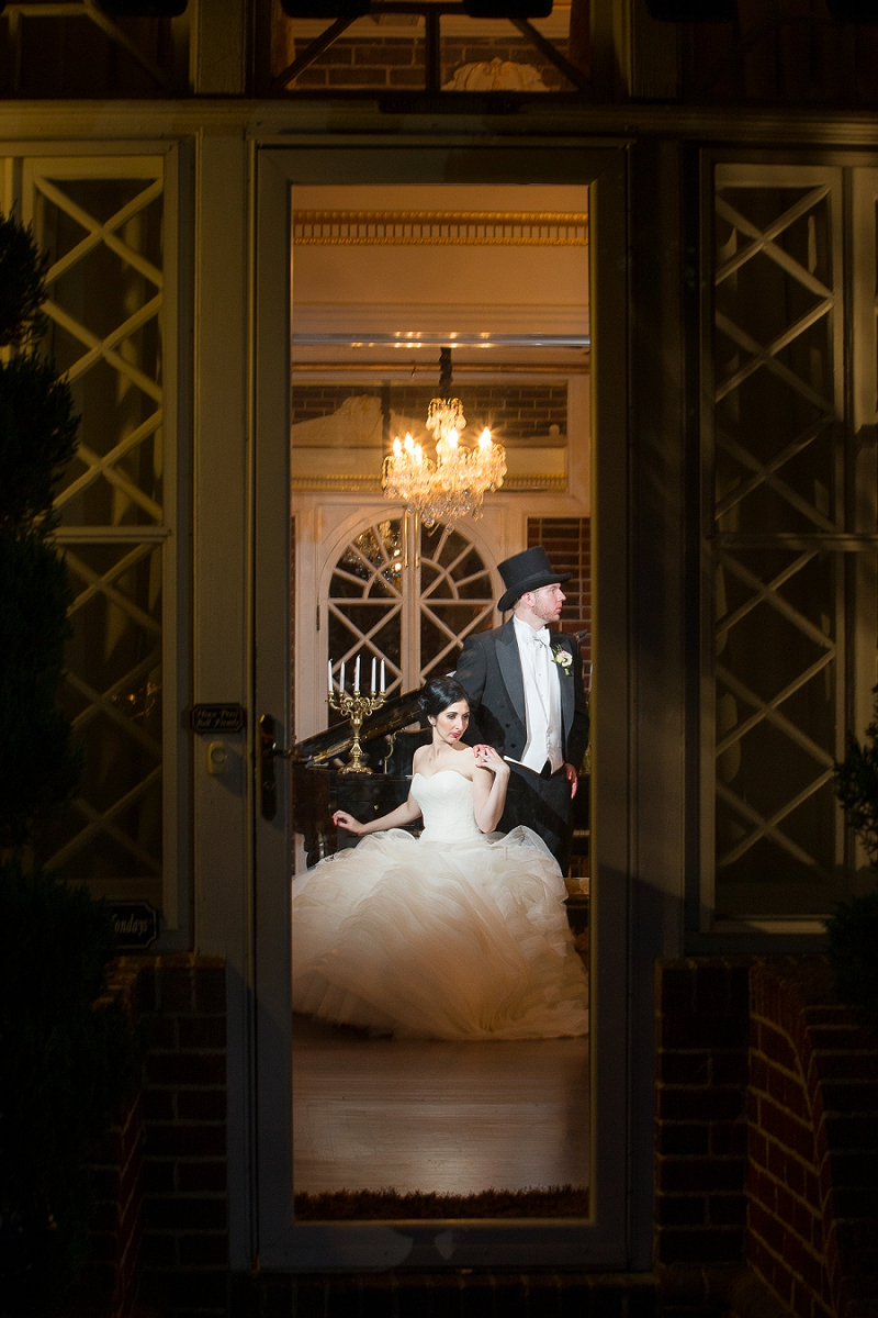 Dramatic bride and groom portrait with formal attire at Historic Mankin Mansion