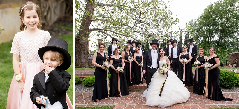 Formal wedding party with top hats and elegant black dresses
