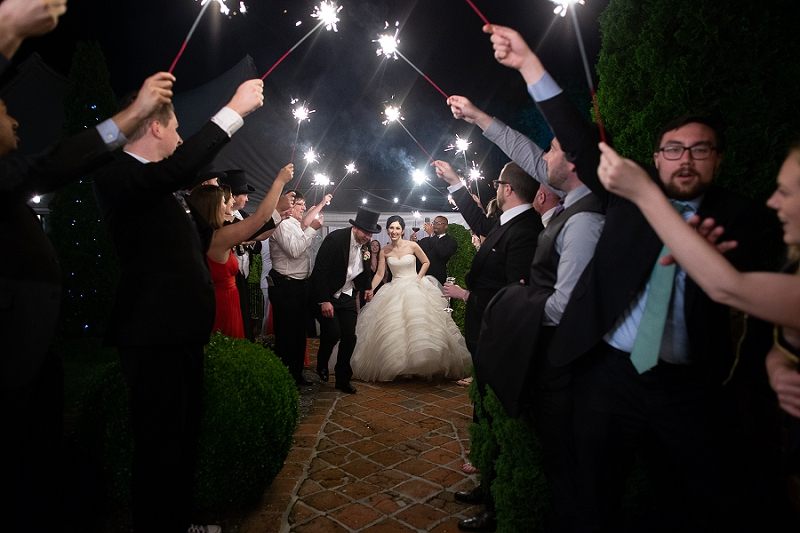 Sparkler wedding exit at Historic Mankin Mansion in Richmond Virginia