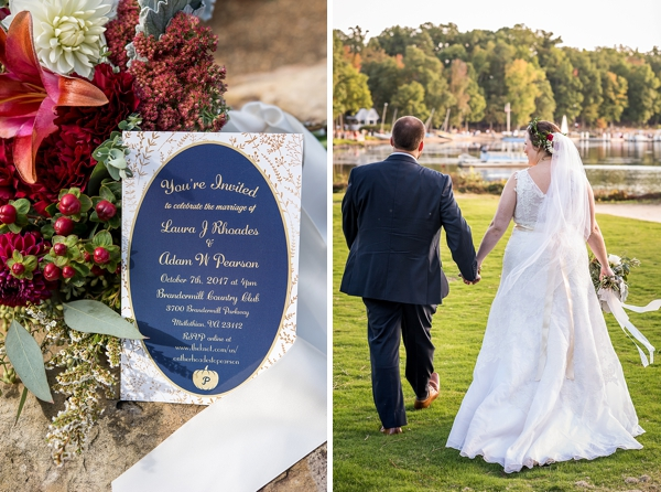 Navy blue and dark red wedding colors for a fall wedding