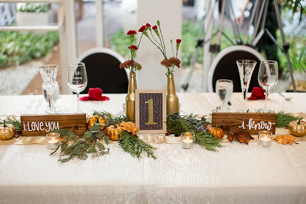 Cute fall wedding sweetheart table ideas for this Virginia wedding