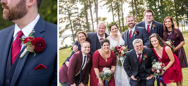 Navy blue suits and cranberry red bridesmaid dresses for beautiful fall wedding in Richmond Virginia