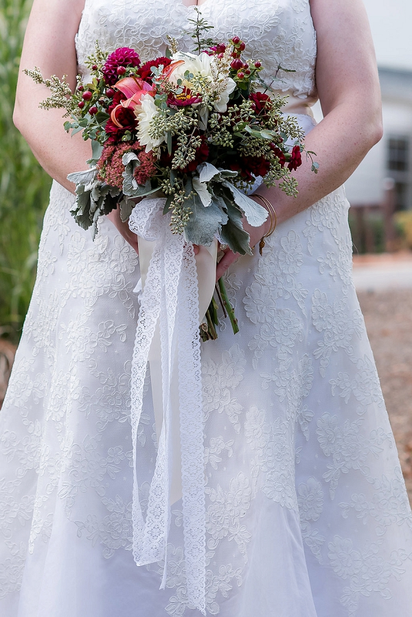 Fall wedding bouquet with sweet lace ribbons