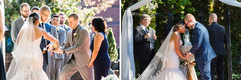 Romantic outdoor wedding ceremony at Historic Mankin Mansion in Richmond Virginia