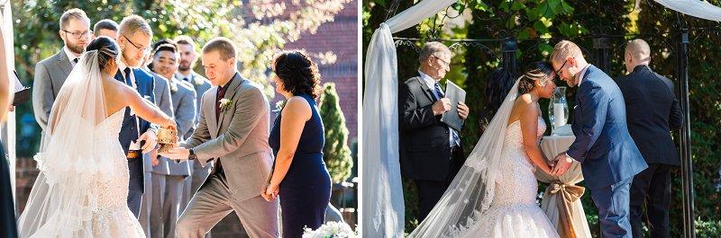 Romantic outdoor wedding ceremony at Historic Mankin Mansion in Richmond Virginia