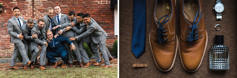 Groomsmen in gray suits and navy blue neckties for classic wedding