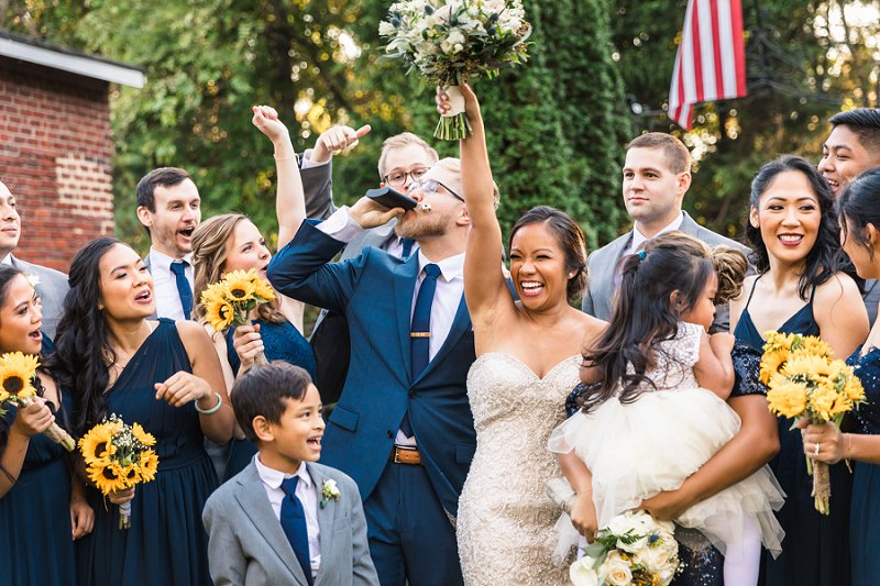 Handmade wedding with navy blue and yellow colors at Historic Mankin Mansion in Richmond Virginia