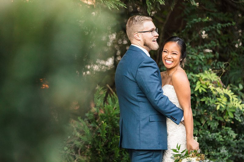 Bride and groom at Historic Mankin Mansion in Central Virginia
