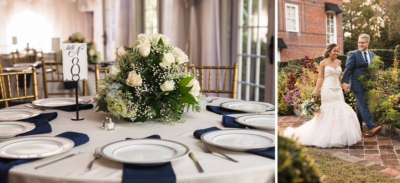 Handmade wedding with DIY flower centerpieces at Historic Mankin Mansion