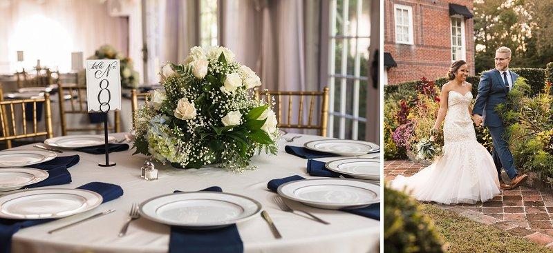 Handmade wedding with DIY flower centerpieces at Historic Mankin Mansion